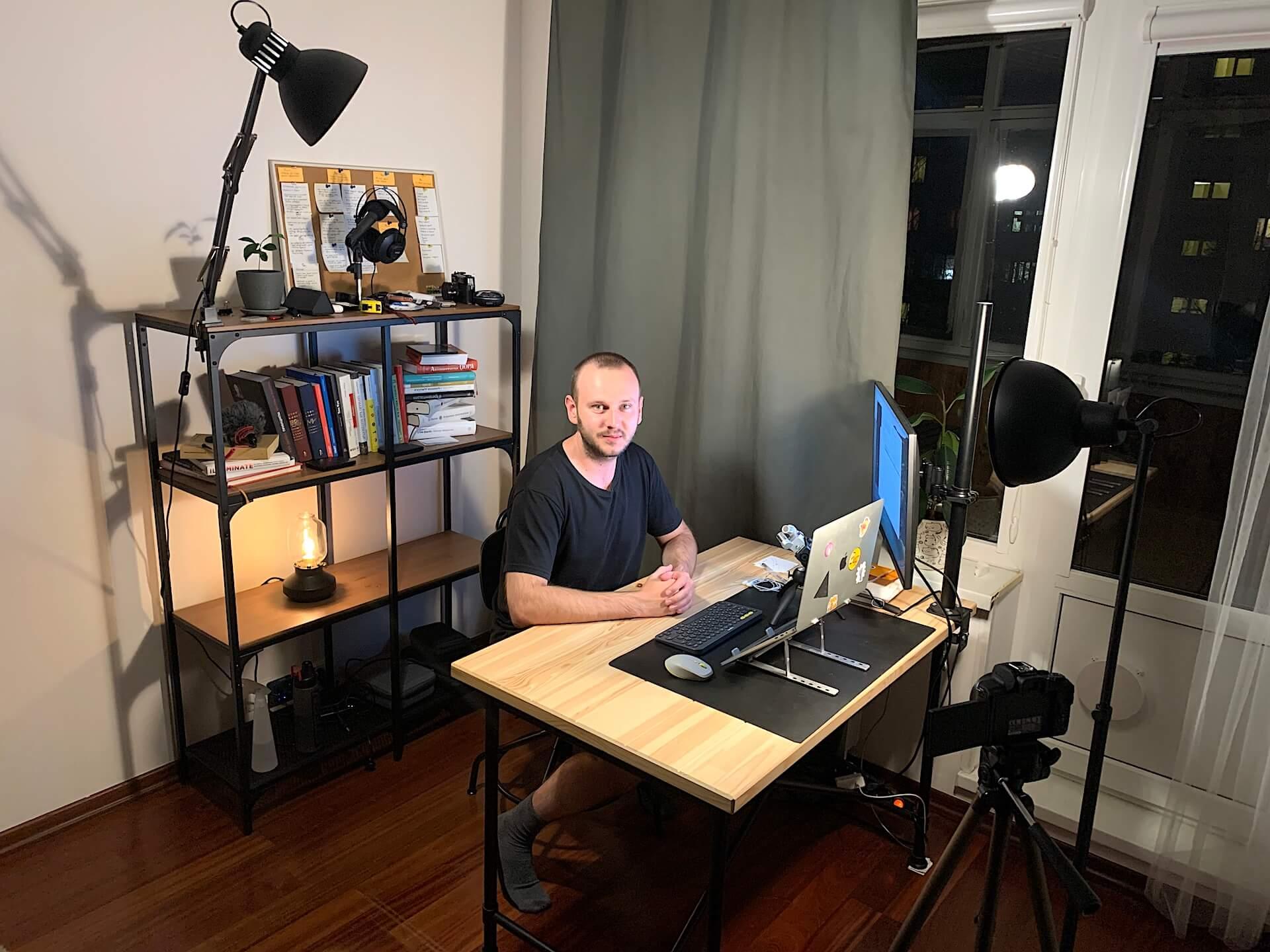 Выставляем кадр и свет для съемки видео-уроков